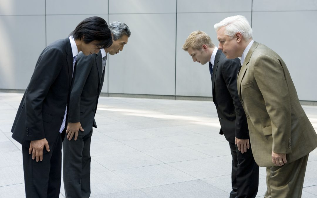 Japanse zakenmensen schudden geen handen.